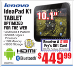 [Deal Alert] Buy A 32GB Lenovo IdeaPad K1 Tablet At Fry's For $450, Get A $100 Gift Card - Today Only (Aug 27)