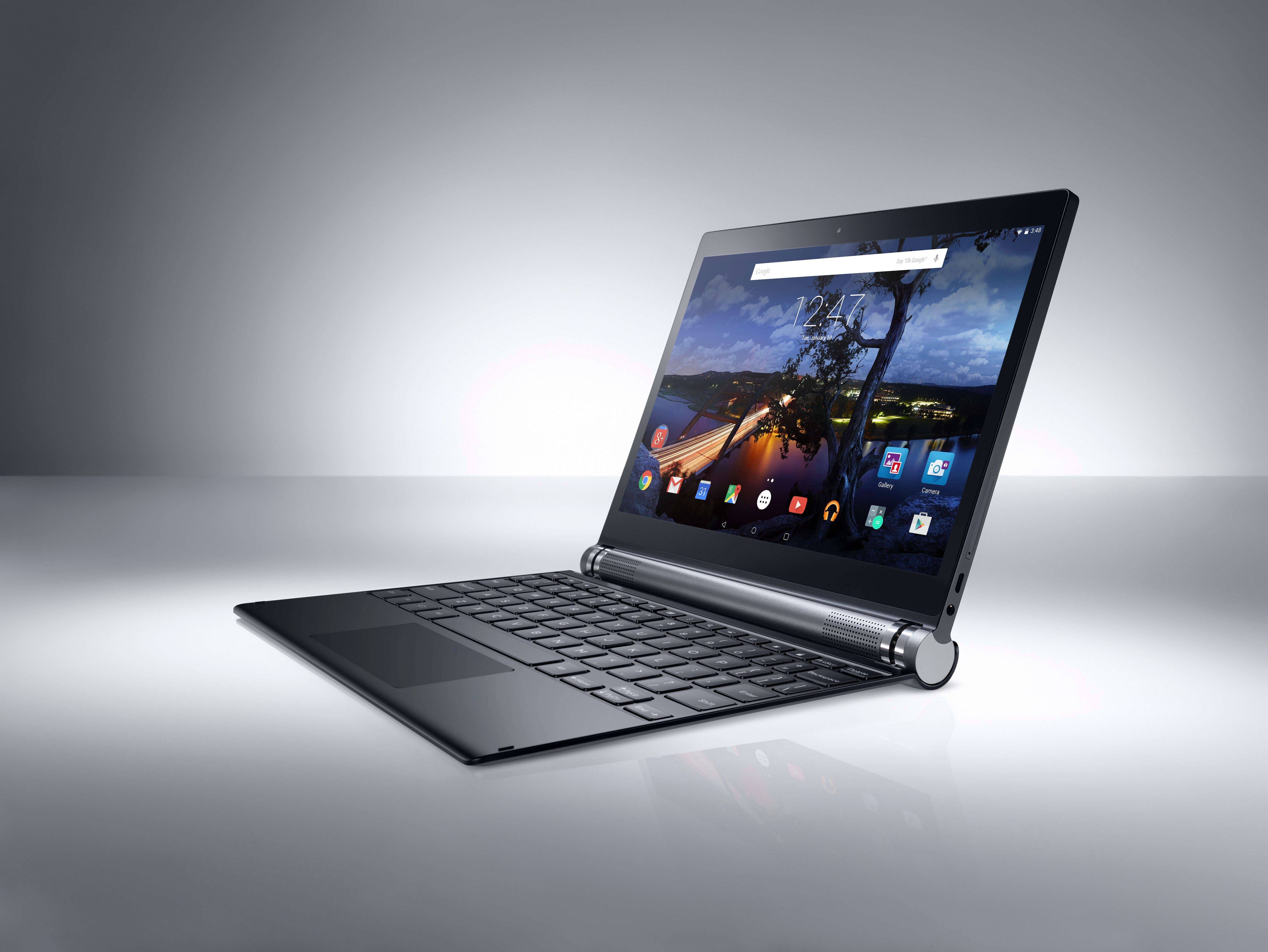 Dell Venue 10 7000 Series (Model 7040, codename Eagle Peak) Android tablet computer with keyboard attachment, shown on a gray beauty background in horizontal/landscape position.