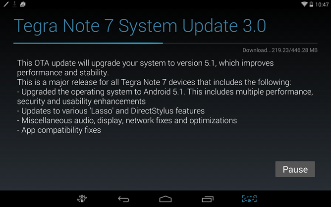 NVIDIA Releases Android 5.1 OTA Update For Tegra Note 7 Tablets