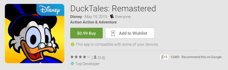 DuckTales: Remastered Is Currently Just 99 Cents In The Play Store, A 90% Discount Even Scrooge McDuck Would Jump On