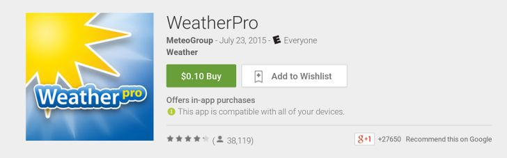 Download WeatherPro App From The Play Store With Widget And Live Wallpaper For Only 10 Cents