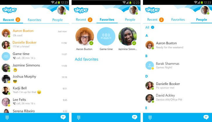 Skype 5.6 Brings A New Recent Tab That Shows More Chats, Places Round Avatars Plus Online Status On All Screens, And More