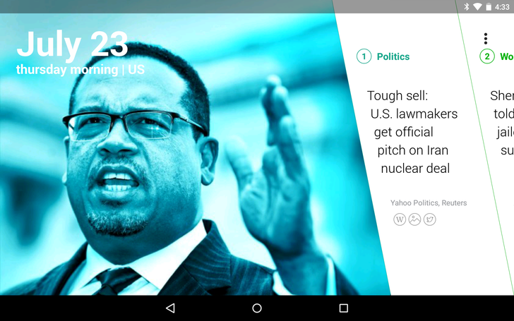 Yahoo News Digest App Now Scales To Android Tablets Using A New Horizontal Interface