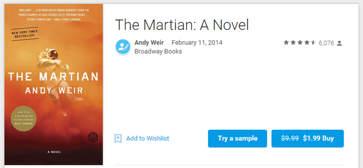 [Deal Alert] Grab 'The Martian' By Andy Weir From Google Play Books (Or Kindle) For $1.99 (Regularly $9.99)