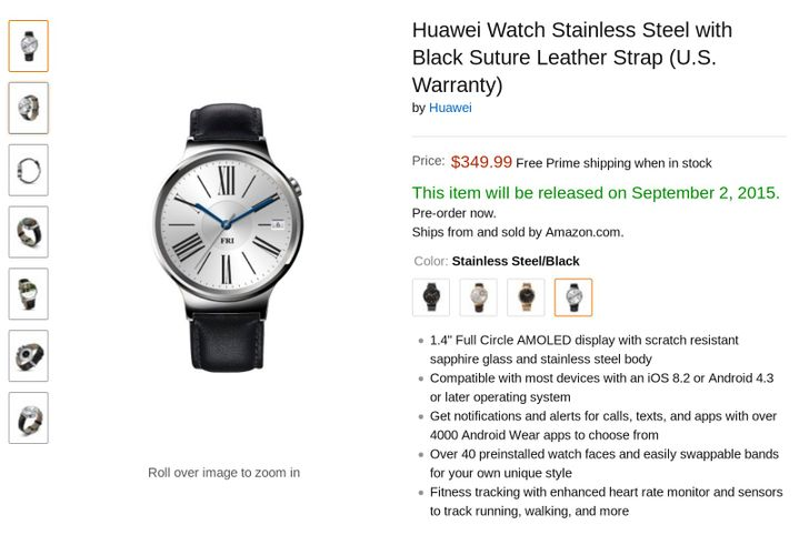 [Update: Statement] Huawei Watch Pre-Order Appears On Amazon With Prices Ranging From $350 To $800, Release Date Listed As September 2nd