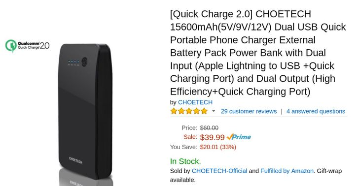 [Deal Alert] Take $8 Off Choetech 15.6k mAh Quick Charge 2.0 External Battery Pack With Amazon Coupon Code