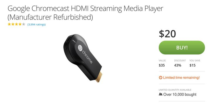 [Deal Alert] Refurbished Chromecast Just $20 On Groupon Plus $4 Shipping