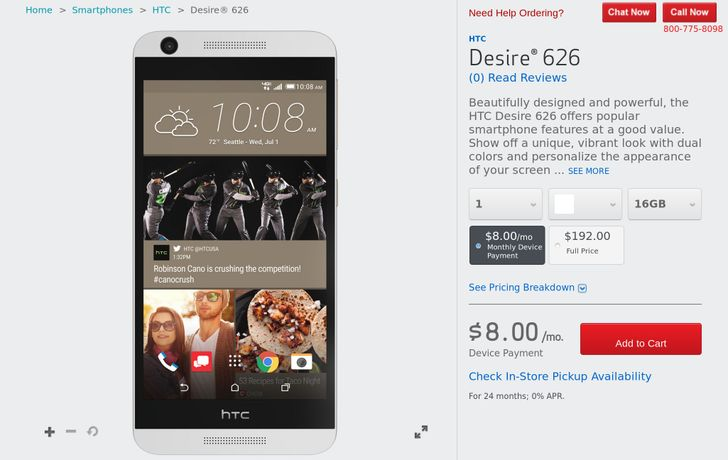 The Affordable HTC Desire 626 Hits Verizon Wireless Priced At $192
