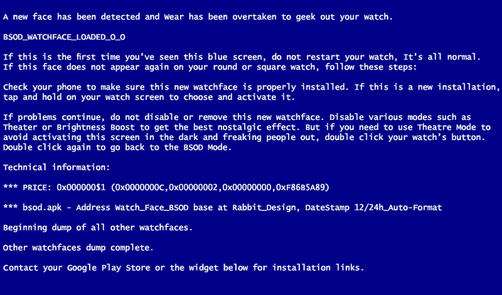 Watch Face BSOD Constantly Revives Your Timeless Dead Windows Nostalgia