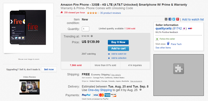 [Deal Alert] The Amazon Fire Phone Is $139.99 For 32GB, $159.99 For 64GB On eBay With A Year Of Prime And Free Shipping