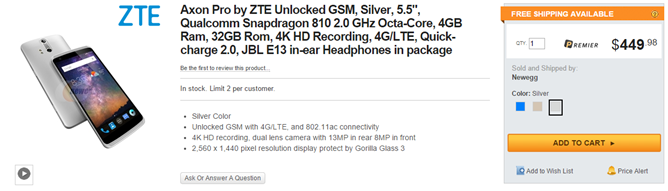 The ZTE Axon Is Now For Sale On ZTE's United States Store