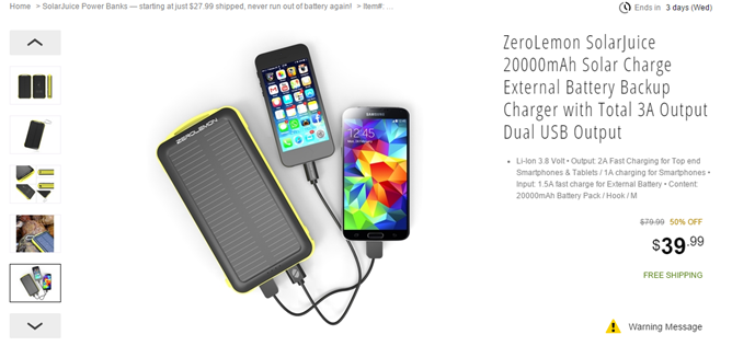 [Deal Alert] ZeroLemon SolarJuice Chargers Are On Sale At Newegg: 10,000mAh For $28, 20,000mAh For $40