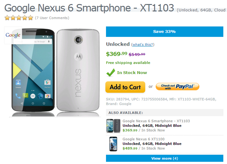 [Deal Alert] 64GB Nexus 6 Down To $369.99 On Expansys USA