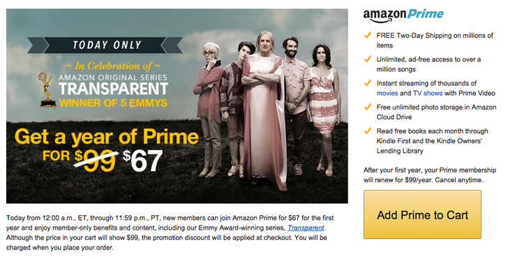 "[Deal Alert] Amazon Prime Is $67 Today, September 25th, Following The Success Of Its ""Transparent"" Series At The Emmys"