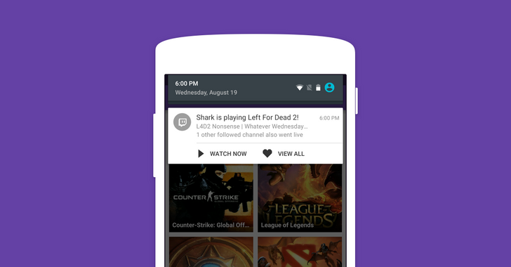 Twitch 4.4 Hits Google Play, Brings Push Notifications For Broadcasters You Follow