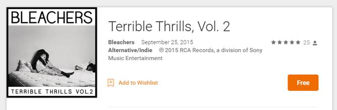 Another Free Album On Google Play Music: The Bleachers' Terrible Thrills Vol. 2