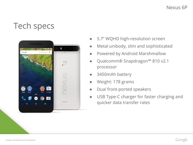 [Update: More Specs] Nexus 6P Presentation Leak Includes More Images, Confirms Metal Body, Gorilla Glass 4, And 3450mAh Battery