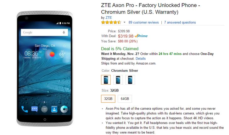 [Deal Alert] ZTE Axon Pro On Sale Via Amazon Lightning Deal For $319.98 ($80 Off) Until 1PM Pacific