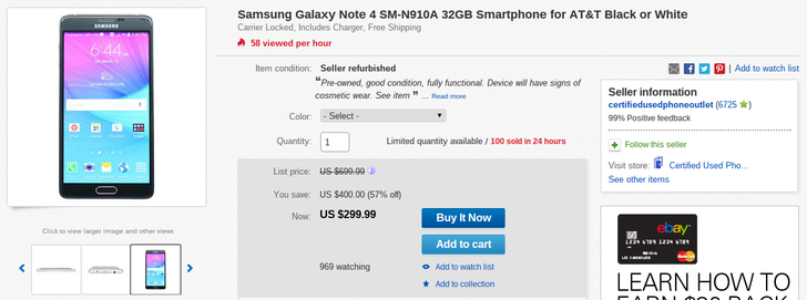 [Deal Alert] Refurbished AT&T Samsung Galaxy Note 4 Reduced Down To $300 On eBay