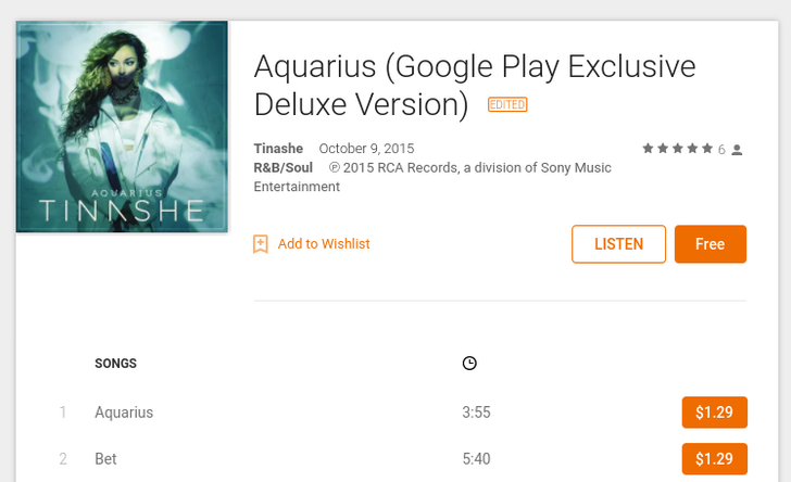 [Deal Alert] Google Is Giving Out 'Aquarius' By Tinashe For Free In The Play Store