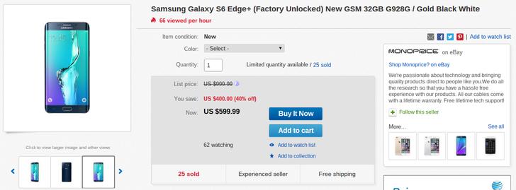 [Deal Alert] Unlocked 32GB Samsung Galaxy S6 Edge+ (G928G) Down To $600 On eBay