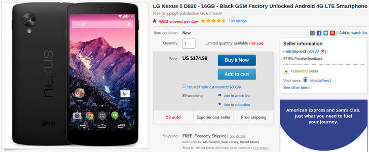[Deal Alert] Get A 16GB Nexus 5 (D820) In New Condition For A Super Cheap $175