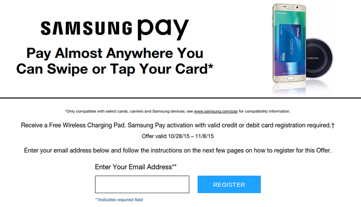 Samsung Is Giving People Who Activate Samsung Pay A Free Wireless Charger Until November 8th