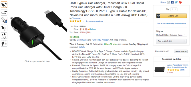 [Deal Alert] Tronsmart Quick Charge 2.0 Dual-Port Car Charger (USB + USB Type-C) Is $11.99 After An $8 Coupon On Amazon