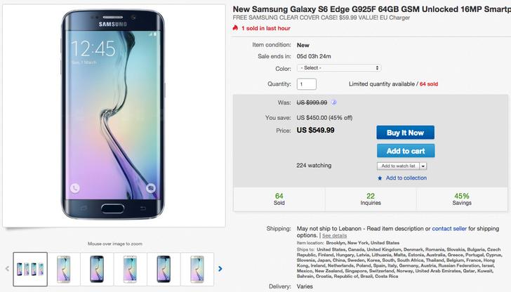 [Deal Alert] Samsung Galaxy S6 Edge 64GB International Unlocked G925F Variant Is Down To $549.99 On Ebay