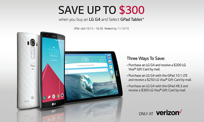 [Deal Alert] Verizon And LG Offer Up To $400 Off The G4 And A Tablet With Coupons And Rebates