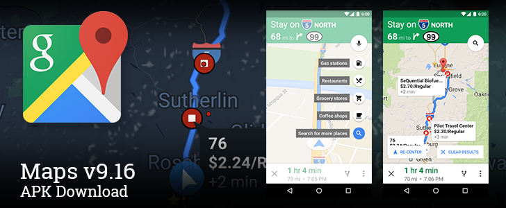 [Update: Also Added Gas Prices] Google Maps v9.16 Adds Search For Places Along Your Current Route For Quick Stops To Get Gas And Food [APK Download]
