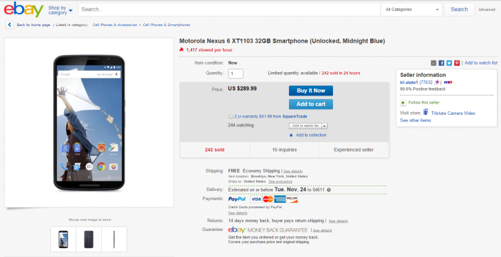 [Update: Back Again] The Motorola Nexus 6 Is Available For $289.99 With Free Shipping On eBay