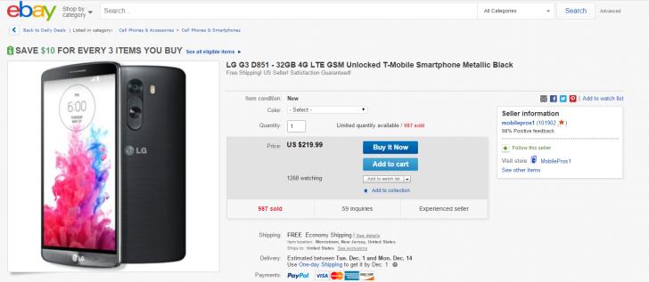 [Update: Now $219.99] New Unlocked LG G3 (D851) On Sale For $279.99 Via eBay