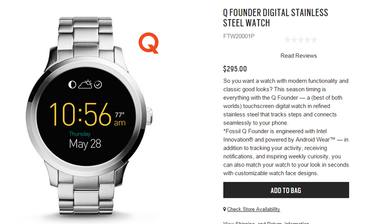 Fossil Q Founder Android Wear Watch Now On Sale For $295