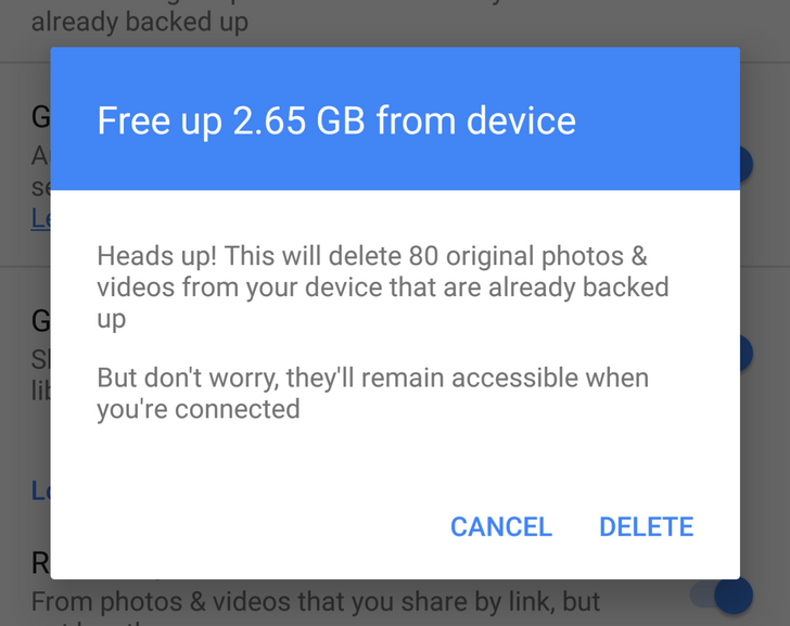 Google Photos 1.9 Offers To Free Up Space Regardless Of Your Remaining Device Storage And Lets You Delete Photos From SD Cards [APK Download]