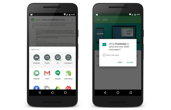 Latest Pushbullet Update Implements Android Marshmallow's Direct Share Feature And Runtime Permissions