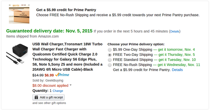 [Deal Alert] Tronsmart Quick Charge 2.0 Wall Charger $6.99 On Amazon After $8 Off Coupon