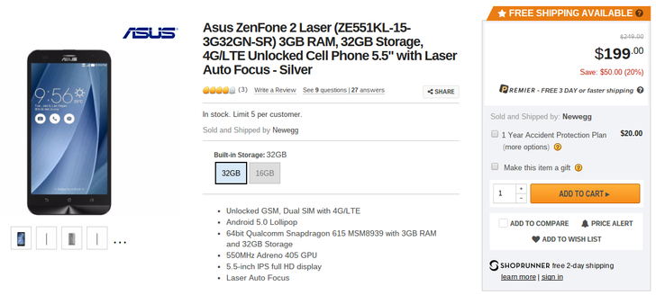 [Deal Alert] Newegg Has The 32GB ASUS ZenFone 2 Laser With 3GB RAM For Only $199.99 ($50 Off)