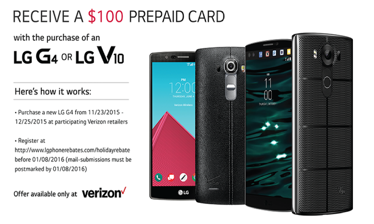 LG Is Giving Out A $100 Rebate Toward Verizon's G4 And V10, Which You Can Combine With The Carrier's Black Friday Promotion
