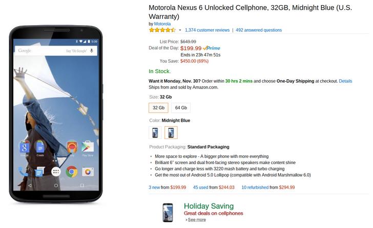 [Lightning Deal Alert] 32GB Nexus 6 $199.99, 64GB $259.99 On Amazon Lightning Deal, Live NOW! GOGOGO!!!