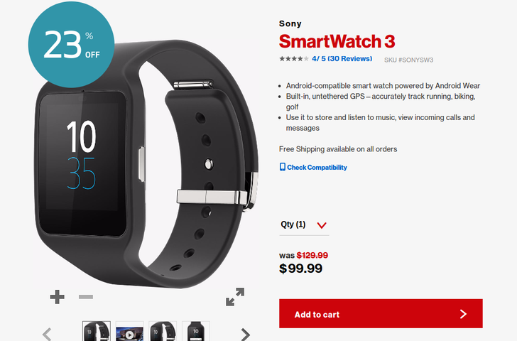 [Update: Back In Stock] Snag A Sony SmartWatch 3 For Only 99.99 From Verizon Wireless