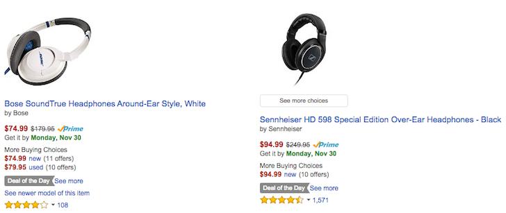 [Deal Alert] Bose SoundTrue Around Ear Headphones $75 And Sennheiser HD 598 Over Ear Headphones $95 On Amazon