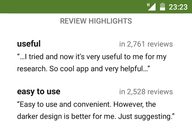 [Update: Rolling Out To Most Users] Google Experiments With Review Highlights In The Play Store