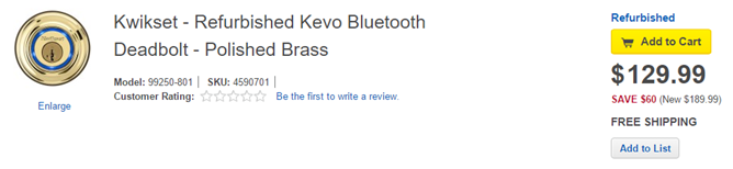 [Deal Alert] Best Buy Is Offering A Refurbished Kwikset Kevo Bluetooth Door Lock For $130 ($70 Off) Today Only