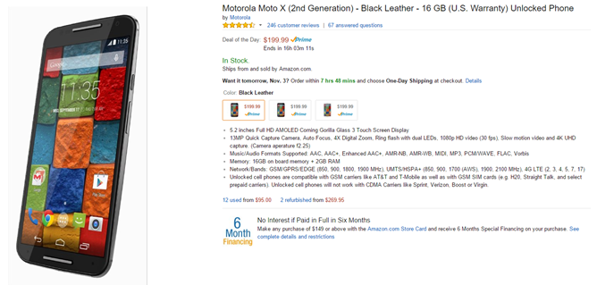 [Deal Alert] GSM Unlocked Moto X 2014 Available For $200 On Amazon Today Only - Plastic, Leather, And Bamboo Versions On Sale