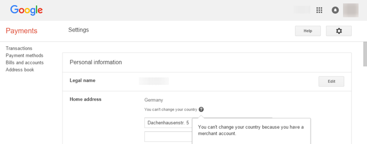 how to change google play account country