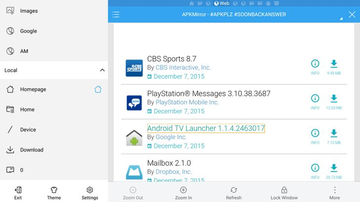 PSA: Easiest Way To Install APKs From APK Mirror On Your Android TV? Favorite The Site In ES File Explorer's Built-In Web Browser