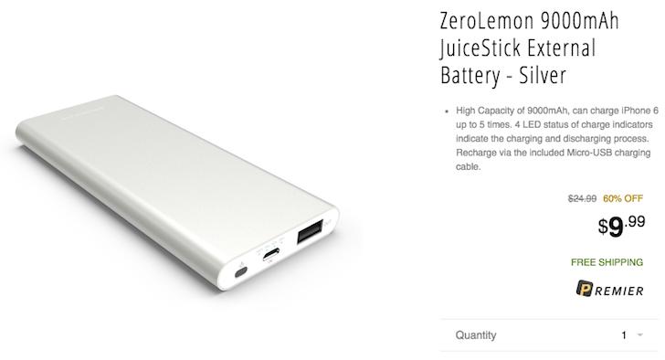 [Deal Alert] ZeroLemon 9000mAh JuiceStick External Battery For $9.99 On Newegg Flash