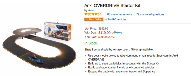 [Deal Alert] Anki Overdrive Android-Controlled Race Track Starter Kit Only $119.99 On Amazon ($30 Off)