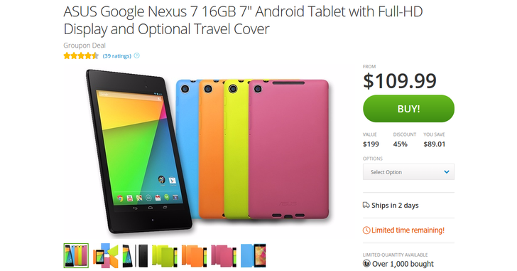 [Deal Alert] Nexus 7 2013 Only $109.99 On Groupon This Time Around ($15 Less Than Before), Optional Case Again Only $5 More